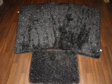 ROMANY GYPSY WASHABLES SPARKLY DESIGN SET OF 4PCS MATS/RUG BLACK/SILVER NON SLIP